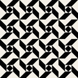 Vector Seamless Black And White Triangle Square Spiral Geometric Pattern Stock Photos