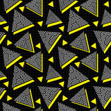 Vector Seamless Black White Yellow Vintage 80's Triangle Jumble Line Pattern on Square Grid. Abstract Background Stock Photography