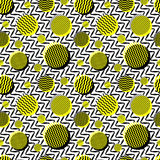 Vector Seamless Black White Yellow Vintage 80's Wavy Lines And Circles Jumble Pattern Royalty Free Stock Photography