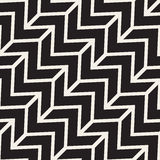 Vector Seamless Black And White ZigZag Diagonal Lines Geometric Pattern Stock Image