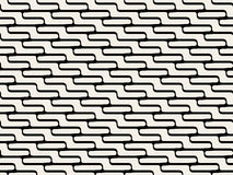 Vector Seamless Black And White  ZigZag Rounded Lines Pattern Royalty Free Stock Photo
