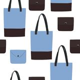 Vector seamless blue bag pattern. Vector bags ang purses background. Grey and brown leather bags Stock Photography