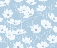 Vector seamless blue floral pattern Stock Photo