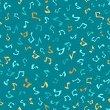 Vector seamless blue music pattern. Various hand-drawn music notes. Blue and gold boundless background Stock Image