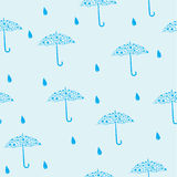 Vector seamless blue pattern. Seamless blue pattern with umbrella Stock Image