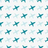 Vector seamless blue pattern with airplanes royalty free stock photo