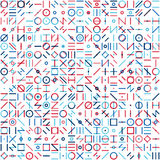 Vector Seamless Blue Red Colorful Random Geometric Line Signs Pattern Royalty Free Stock Photos