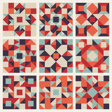 Vector Seamless Blue Red Orange Geometric Ethnic Square Quilt Pattern Collection Stock Photography