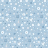 Vector Seamless Blue Winter Background with Snowflakes Stock Photo