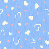 Vector seamless blue wooden texture with hearts pattern. Stock Photography