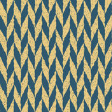 Vector Seamless Blue Yellow Color Hand Drawn Checker Distorted Parallelograms Grungy Arrows Pattern Royalty Free Stock Photo