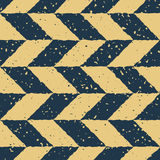 Vector Seamless Blue Yellow Color Hand Drawn Checker Distorted Parallelograms Grungy Retro Pattern. Abstract Background Royalty Free Stock Photos