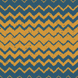 Vector Seamless Blue Yellow Color Hand Drawn Horizontal Gradient Halftone ZigZag Distorted Lines Grungy Ethnic Pattern Royalty Free Stock Photo