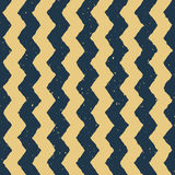 Vector Seamless Blue Yellow Color Hand Drawn Vertical ZigZag Distorted Lines Grungy Chevron Pattern Royalty Free Stock Images