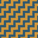 Vector Seamless Blue Yellow Color Hand Drawn ZigZag Distorted Step Lines Grungy Chevron Pattern Royalty Free Stock Photography