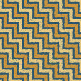 Vector Seamless Blue Yellow Color Hand Drawn ZigZag Distorted Step Lines Grungy Retro Chevron Pattern Royalty Free Stock Image