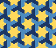 Vector Seamless Blue Yellow Geometric Star Triangle Shape Tessellation Pattern Stock Images
