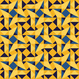 Vector Seamless Blue Yellow Geometric Triangle Rhombus Square Tiling Pattern Royalty Free Stock Image