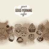 Vector seamless boarder with coffee and sweets Stock Images