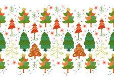 Vector seamless border of christmas tree Stock Photo