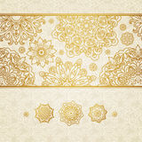 Vector seamless border with circle ornaments. Stock Photo