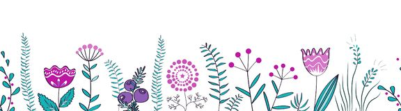Vector seamless border with forest and meadow plants. Background for frames, decorative scotch tape, posters, kids. Vector seamless border with forest and meadow stock illustration