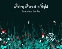 Vector seamless border with forest plants, and fairy house. Background for frames, decorative scotch tape, books, kids Royalty Free Stock Photography