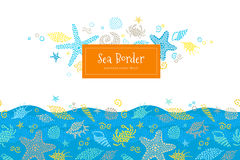 Vector seamless border with sea elements. Stock Photo