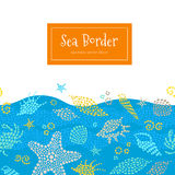 Vector seamless border with sea elements. Royalty Free Stock Image