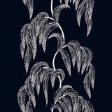 Vector seamless border with stylized tree branches for season de royalty free illustration