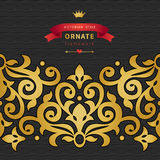Vector seamless border in Victorian style with hipsters label. Royalty Free Stock Photography