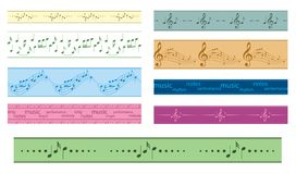 Vector seamless borders with music notes - colored frames