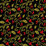 Vector seamless botanical pattern with branches. Russian khokhloma style. Easter pattern Royalty Free Stock Photos