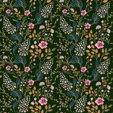 Vector seamless bright colorful gentle hand drawn little ditsy flower pattern. Bright floral allover print on black Royalty Free Stock Images