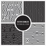 Vector Seamless BW Knotting Lines Pattern Collection Stock Photography