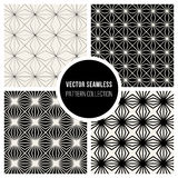 Vector Seamless BW Square Lines Geometric Pattern Collection Royalty Free Stock Photography