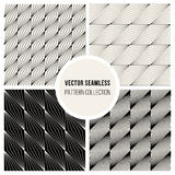 Vector Seamless BW Square Lines Geometric Pattern Collection Stock Images