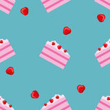 Vector seamless cake and strawberry pattern. Design for cards, menu, textile, fabric. Sweets with vanilla, strawberry and cream.  Stock Photo