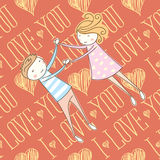 Vector Seamless Card With Couple 01 [Converted] Stock Photography