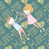 Vector Seamless Card With Couple 03 [Converted] Royalty Free Stock Image
