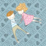 Vector Seamless Card With Couple 16 [Converted]. Valentine day card concept. Seamless vector pattern card with heart, happy valentine day words and couple Royalty Free Stock Photo
