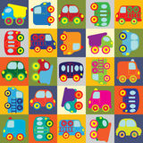 Vector seamless cartoon cars. Vector seamless colorful cartoon cars Stock Photos