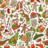 Vector Seamless Cartoon Christmas Pattern. Christmas tree and Christmas baubles, gifts, candy canes, snowman, swirls, gingerbread man, deer, bells and ribbons Stock Images