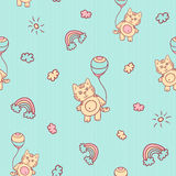 Vector seamless cartoon pattern. Little kitten with balloons, clouds, sun and rainbow. Gentle turquoise background for. Kids Royalty Free Stock Images