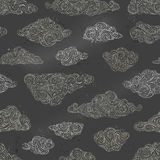 Vector seamless chalk clouds pattern. vector illustration
