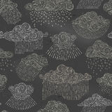Vector seamless chalk pattern of rain clouds. vector illustration