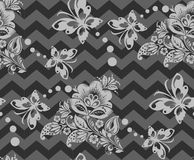 Vector Seamless chevron floral Background Royalty Free Stock Photos