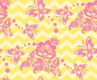 Vector Seamless chevron floral Background Stock Photos
