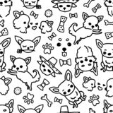 Vector seamless chihuahua pattern, dog poses, dog breed. Drawn by hand illustrations of cute doodle little dogs and toys royalty free illustration