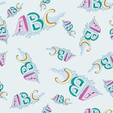 Vector seamless childish alphabet pattern Stock Images